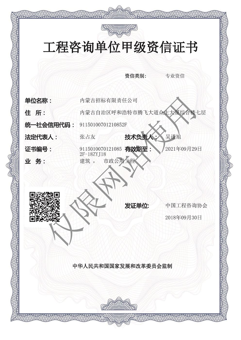 工程咨询单位甲级资信证书建筑 (无纸质版), 市政公用工程